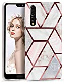 Imikoko Case for Huawei P20 Pro 6.1 Inch,Marble Rose Gold