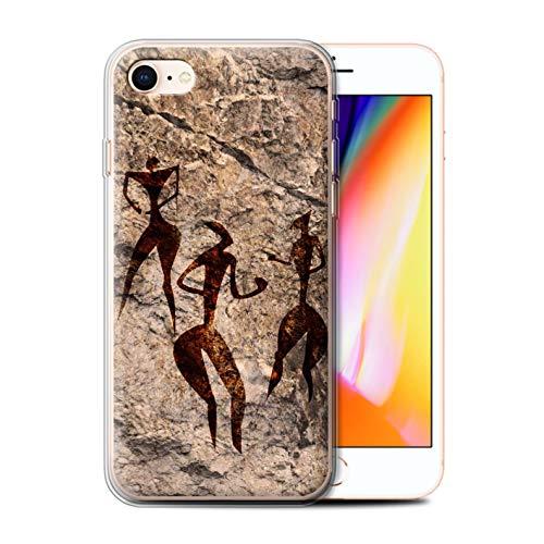 Telefoonhoesje voor Apple iPhone SE 2020 Grot Schilderij Dans/Muziek Ontwerp Transparant Heldere Ultra Zachte Flexi Siliconen Gel/TPU Bumper Cover