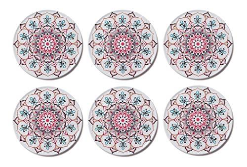 Palooza - Premium Design Mandala Glasuntersetzer (6er Set) – Dekorative Untersetzer für Glas, Tassen, Vasen, Kerzen zum Schutz von Esstisch und empfindlichen Oberflächen (rund | 9cm) (Marrakesch)