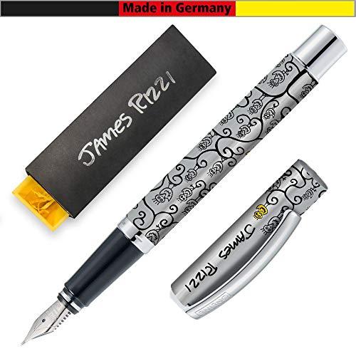 ONLINE Füller Vision, Special Edition James Rizzi Yellow Fellow, Füllfederhalter aus Aluminium, Iridium Feder M, für Standard-Tintenpatronen und Konverter geeignet, Geschenkverpackung