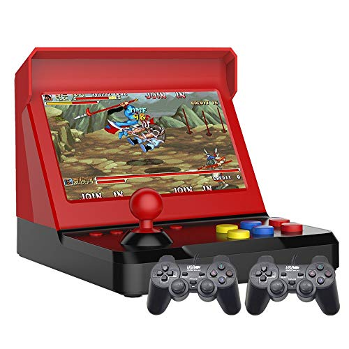7.0 pulgadas Quad-core Multiplayer retro arcade game console 9000 juegos gratis mame/neogeo /cp1/cp2/bin/gba/gbc/gb/sfc/fc/smd Batería de litio de música de video ahorrable recargable (negro-rojo)