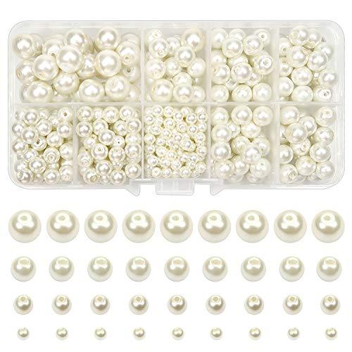 TOAOB 420 Piezas Perlas de Imitación Cuentas de Vidrio de 4 mm a 10 mm Abalorios de Cristal Redondas de Color Beige de Tamaño Mixto Utilizadas para Bisuteria Hacer Joyas Pulsera Collar