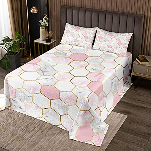 Erosebridal Pink Marble Bedspread for Girls Women White Grey Geometric Marble Quilted King Size Gold Foil Lines Coverlet Set for Kids Teens Hexagonal Honeycomb Quilt Set with 2 Pillow Cases