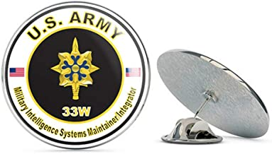 Veteran Pins U.S. Army MOS 33W Military Intelligence Systems Maintainer/Integrator Metal 0.75