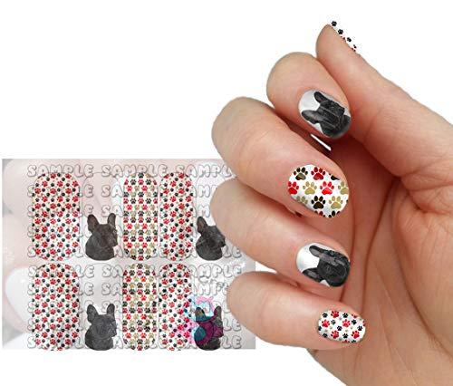 French Bulldog Black Frenchie Paw Print Full Nail Art Decal Wraps
