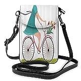 ADONINELP Bolso de Cuero para teléfono Bolso Bandolera Mujer en Bicicleta con Canasta de Flores de tulipán Bolso Bandolera pequeño Monedero para teléfono Celular Cartera Cartera Bolsos de Hombro Bols