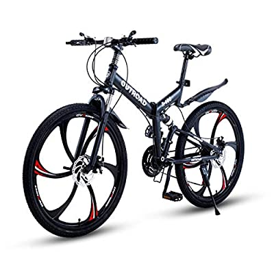 Max4out Mountain Bike Folding Bikes with High Carbon Steel Frame, Featuring 6 Spoke Wheels and 21 Speed Shimano Shifter, Double Disc Brake and Dual Suspension Anti-Slip Bicycles, Black