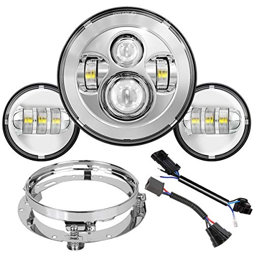 TRUCKMALL 7 Inch LED Headlight, 4.5'' Fog Passing Lights, Anti-Scratch Lens, for Harley Davidson Touring Road King Ultra Classic Electra Street Glide Tri CVO Heritage Softail Slim Deluxe Fatboy Chrome