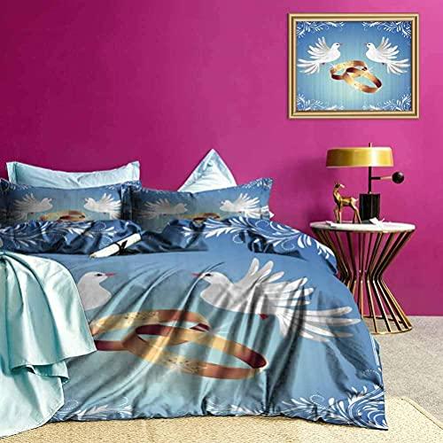Funda de edredón Dos Anillos de pájaros Floral Hermosa Funda de edredón combina Perfectamente con tu decoración