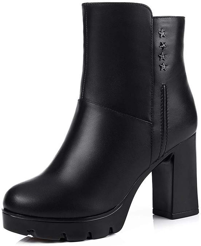 Ailj Snow Boots, Women's Leather Plush One Warm Boots Non-Slip Thick with The Tube Boots Cotton shoes (Black) (color   2, Size   35 EU 4 US 3 UK 22.5cm JP)