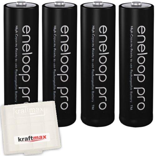 4er Pack Panasonic Eneloop PRO XX AA/Mignon Akkus - Neueste Generation - 2550 mAh Hochleistungs Akku Batterien in Kraftmax Akkubox V5