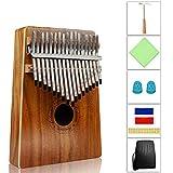 Kalimba, Helesin 17 key Thumb Piano Solid Finger Piano with Locking system, Instruction and Tune Hammer Marímbula Mbira Wood Natural Keyboard...