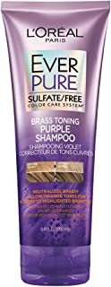 L'Oréal Paris Hair Care EverPure Sulfate Free Brass Toning Purple Shampoo for Blonde, Bleached, Silver, or Brown Highlighted Hair, 6.8 Fl. Oz
