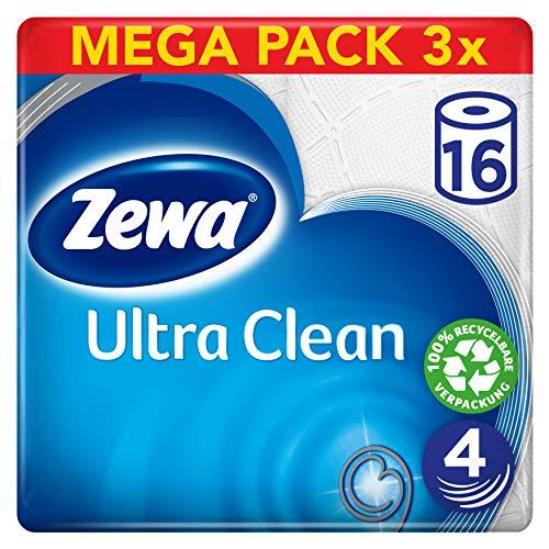 Zewa Toilettenpapier Ultra Clean 4-Lagig, Mega Pack, 3 Packungen (48 Rollen x 135 Blatt)