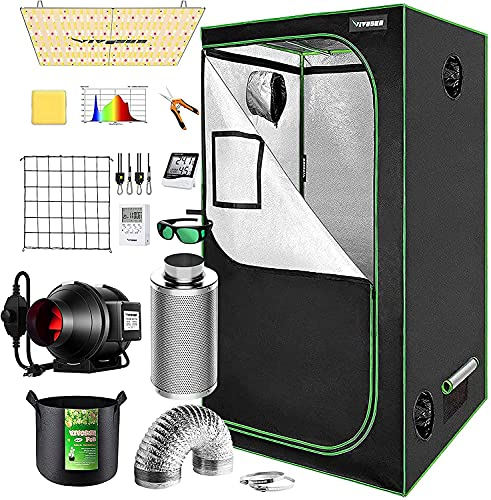 VIVOSUN Grow Tent Complete System, 3x3 Ft. Grow Tent Kit Complete with 4-inch Inline Fan Package, VS2000 LED Grow Light, Temperature Humidity Monitor, Netting, Grow Bags, Pruning Shear and Timer