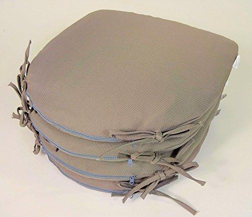 Rattani Set 4 x Stuhlkissen/Sitzkissen Altea mit Schleife 38 x 40 cm Dicke 4 cm, Fb. Soft Gray, Polyester - Made in EU