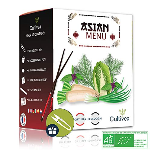 Cultivea World - Asian Menu - Owngrown - 100% Bio Samen - Gemüse Anzuchtset Set - Geschenkidee (Daikon-Rettich, Chinesischer Kopfsalat pe tsaï, Chinesischer Schnittlauch, Dill, Thai-Basilikum)