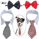 Corbatas para Perro o Gato Set,Biluer 8PCS Ajustables Pajarita de Mascotas Corbata de Mascotas Collar de Perro Formal para Perros Pequeños y Gatos Corbatas de Aseo para Cachorros Accesorios de Fiesta