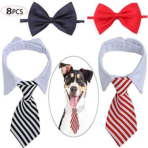 Biluer Pet gestreifte Krawatte Set, 8PCS Einstellbare Haustier Krawatte Haustier Fliege Kostüm Formale Hundehalsband für Kleine Hunde Welpen Pflegen Zusätze
