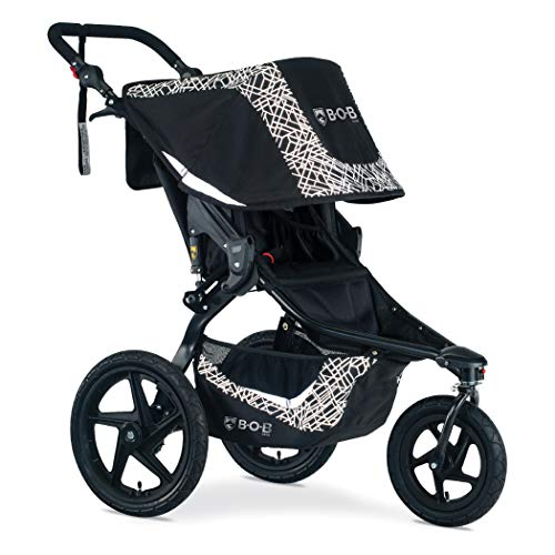 BOB Gear Revolution Flex 3.0 Jogging Stroller, Lunar Black | Ultra-Reflective Fabric + Smooth Ride Suspension + Easy Fold + Adjustable Handlebar [NEW LOGO]