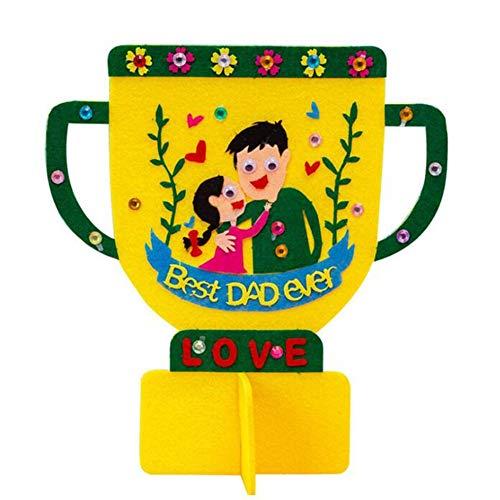 Buen padre de puzzle jardín de infantes kit DIY mano de dibujos animados trofeo el día de padre regalo no tejido creativo de los niños (Color : Amarillo, Size : 19 * 20CM)