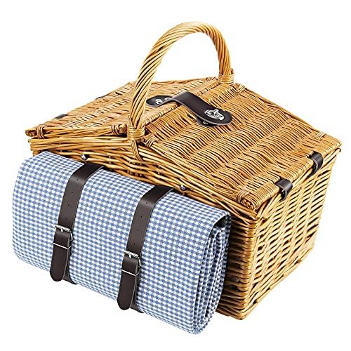Picknickkorb für 4 Personen 20 teiliges Picknick-Koffer Picknick-Set Weidenkorb mit Picknickdecke, Geschirr, Besteck, Gläser usw. Camping Sandstrand Blau-weißes Plaid 42x28x20cm