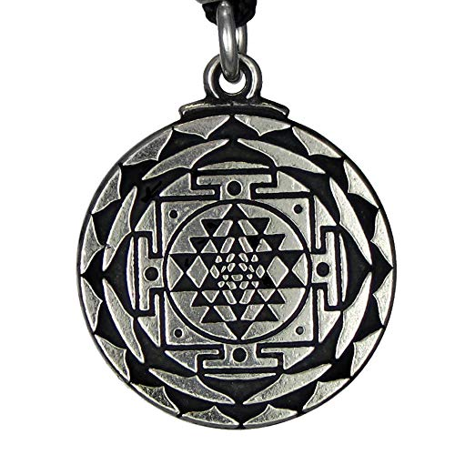 Pewter Sri Yantra Great Wealth Pendant Necklace