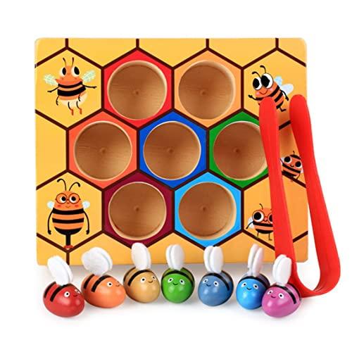 Rendeyuan Juego de Colmena, Trabajo Duro, Captura de Insectos, Juego de reconocimiento de Color para niños, Juguetes de Madera para niños, Desarrollo temprano, Multicolor 16.5x13.8x4cm