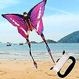 QIANG Cometa De Mariposa para Niños Y Adultos - Colores Brillantes del Arco Iris - Gran Juguete Al Aire Libre para Principiantes - Muy Fácil De Volar,Pink
