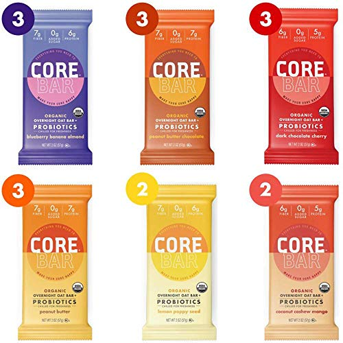 CORE Foods Organic Overnight Oat Bar Probiotics, Gluten Free, non-GMO, Vegan, Kosher, Prebiotics, Best Sellers Variety Pack, 2 oz, 16 Refrigerated Bars