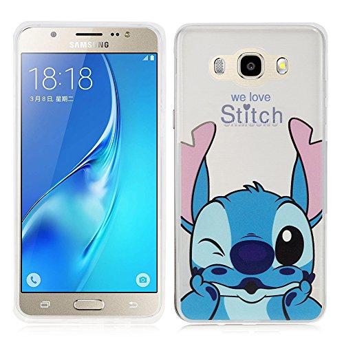 Annart Carcasa Silicona TPU Transparente Ultra Fina Dibujo Animados Bonito para Samsung Galaxy J5 (2016) J510FN - Stitch