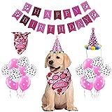 Cumpleaños para Perros,Bandana Cumpleaños Perro,Set de Cumpleaños para Mascotas,Perro Cumpleaños,Decoracion Cumpleaños para Perros,Regalo de Perros Rosa