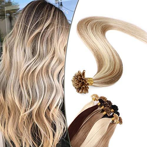 SEGO Extension à Chaud Blond Keratine Rajout Naturel - 60 cm 12P613#Brun Doré & Blond Blanchi [1g *50 Mèche] - Remy Human Hair