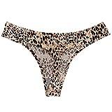 Xmiral Mutande Perizoma Invisibile Pizzo a Vita Bassa Senza Cuciture Stampa Leopardo Sexy da Donna (M,4- Giallo)