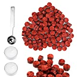 Wax Seal Beads, SeeSky 300 Pcs Octagon Sealing Wax Beads with 1 Pcs Wax Melting Spoon and 2 Pcs Candles for Wax Seal Stamp (Wine Red)