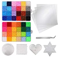Weychen 26,000pcs Fuse Beads Kit-48 Colors 2.6mm(0.1inch) Fuse Beads Craft Set-Iron Beads-Including 4 Pegboards, 4 Ironing Paper & 1 Tweezers - Christmas Birthday Gift
