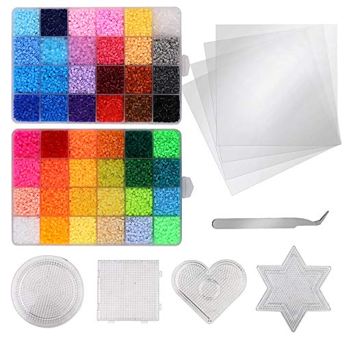 WEYCHEN 26,000pcs Fuse Beads Kit-48 Colors 2.6mm(0.1inch) Mini Fuse Beads Craft Set-Iron Beads-Including 4 Pegboards, 4 Ironing Paper & 1 Tweezers - Christmas Birthday Gift