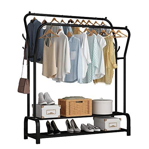 UDEAR Garment Rack Freestanding Hanger Double Rods Multi-functional Bedroom Clothing Rack Double layer ,4 Hooks,Black
