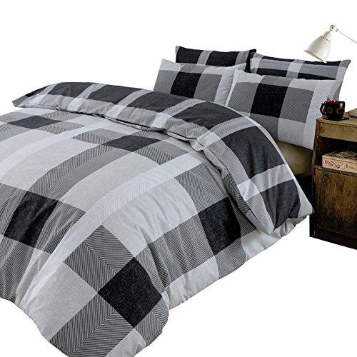 Dreamscene - Juego de Funda de edredón (2 Unidades, poliéster, 50 % algodón), diseño de Cuadros, Color Negro y Plateado