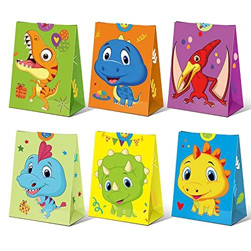 MTaoyac Papiertüten,24 Sets Dinosaurier Geschenktüten,Tüten Papier Geschenk mit 32 Aufkleber,Candy Tüten zum Verpacken von Geschenken,Geschenktüten Kindergeburtstag,Adventskalender zum Befüllen Tüten