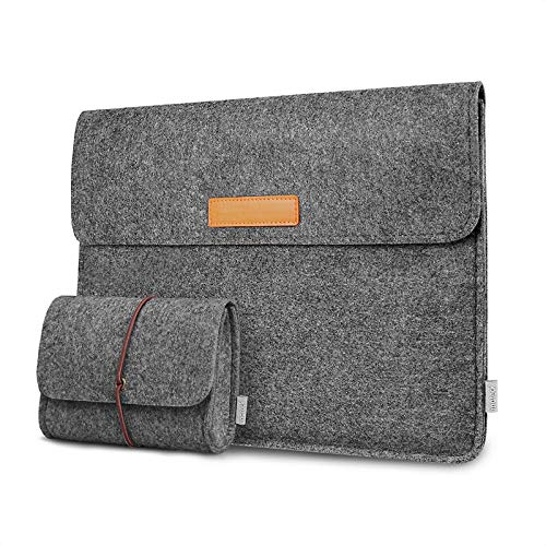 Inateck Laptop Sleeve Compatible with MacBook Air 13 2018-2020, MacBook Pro 13 2016-2020, MacBook Air/MacBook Pro M1 2020, Surface Pro X/7/6/5/4/3, iPad Pro 12.9 2020 - Dark Grey