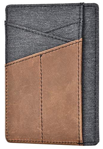 Khaki Crazy Horse Genuine Leather Slim Wallet For Men Minimalist Front Pocket Wallet Credit Card Holder Rfid Blocking Protection Id Window Card Case