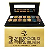 W7 | 24K Gold Rush Pressed Pigment Palette Makeup | Tones: Cream Matte, Shimmer, Glitter & Toppers | Colors: Naturals, Golds, Blues & Yellows | Cruelty Free Makeup