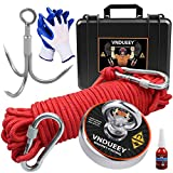 Fishing Magnet Kit with Rope, Fishing Magnets 700 LBS Pulling-Includes Grappling Hook, Heavy Duty 65FT Rope, Gloves & Locking Carabiner,Threadlocker and Waterproof Carry Case - 2.95inch Diameter