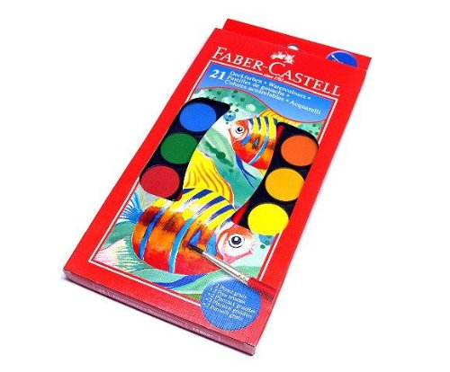 RCECHO® Faber Castell Andere Aquarelle Farbkasten 21 Farben + Pinsel 125021 PB448 174; Vollversion Apps Ausgabe