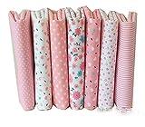 Egurs 8 Stueck Rosa Baumwollstoff Stoffpakete Patchwork