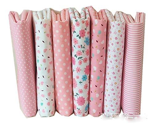 Egurs 7 Stücke Rosa Serie Patchwork Stoffe Paket 50 x 50 cm baumwollstoffe Stoffpaket Stoffreste Nähstoffe DIY Handgefertigte Nähen Quilten Stoff
