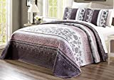 3-Piece Oversize (115' X 95') Fine Printed Prewashed Quilt Set Reversible Bedspread Coverlet (California) Cal King Size Bed Cover (Purple. Grey, Black, White, Floral)