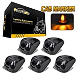 Partsam 5PCS Smoke Lens Amber LED Cab Roof Top Marker Lamps Running Lights Assembly Compatible with F250 F350 F450 F550 Super Duty 1999-2016/E350 E450 2017 2018 Super Duty Pickup Truck