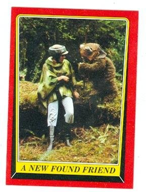 Princess Leia and Ewok Wicket trading card Star Wars Return of the Jedi 1983 Topps #72 Carrie Fisher